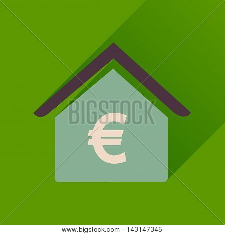 Flat icon with long  shadow Bank building