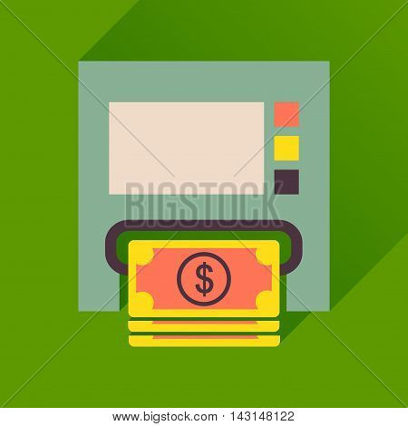 Flat icon with long  shadow ATM cash