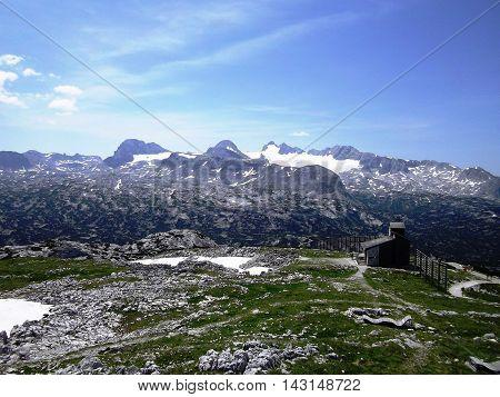 View Idyllic, beauty Alpine rocks - Dachstein mountain panorama - from mountain Krippenstein, fresh clear blue sky, summer day, Salzkammergut region, Upper Austria, Austria, Europe
