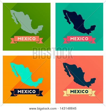 Concept of flat icons with long  shadow map of Mexico