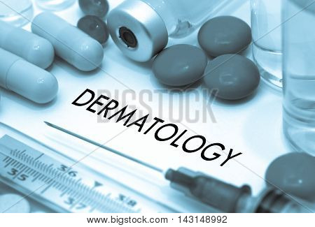 Dermatology. Treatment and prevention of disease. Syringe and vaccine. Medical concept. Selective focus