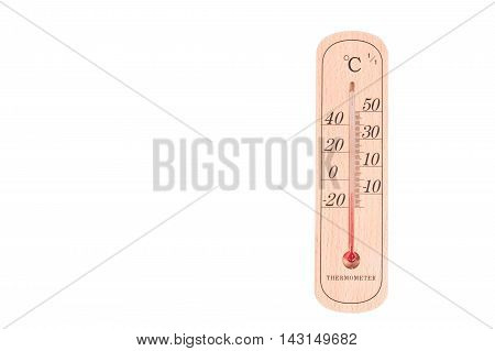 Thermometer measurement -10 degree on wooden background