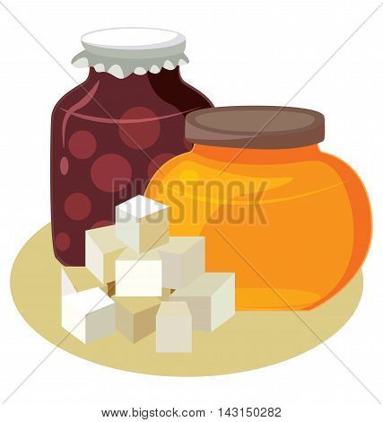 Sugar honey jam - simple carbohydrates. For your convenience each significant element is in a separate layer. Eps 10