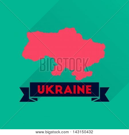 Flat icon with long  shadow map of Ukraine