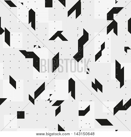 Sharp geometric shapes. Monochrome seamless pattern. Texture for a background.