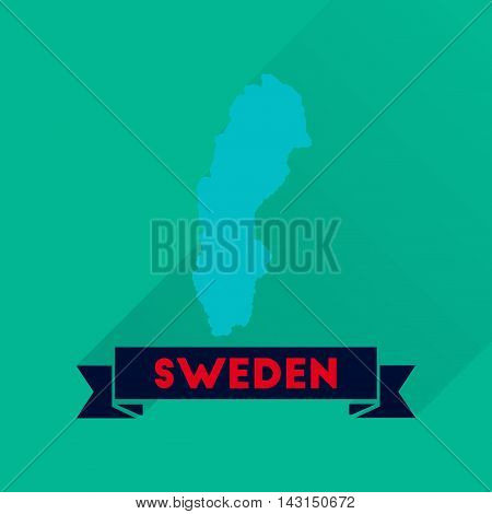 Flat icon with long  shadow Sweden map