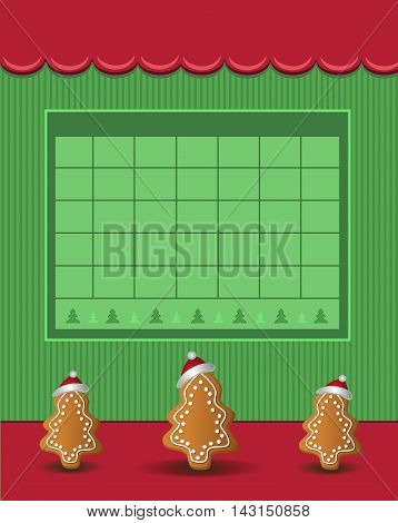 Calendar December Christmas 2016 tree gingerbread green red raster blank