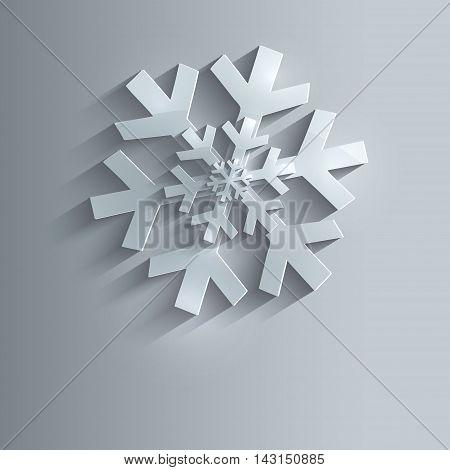 Christmas snowflake 3D blue raster template flake