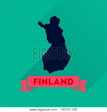 Flat icon with long  shadow Finland map