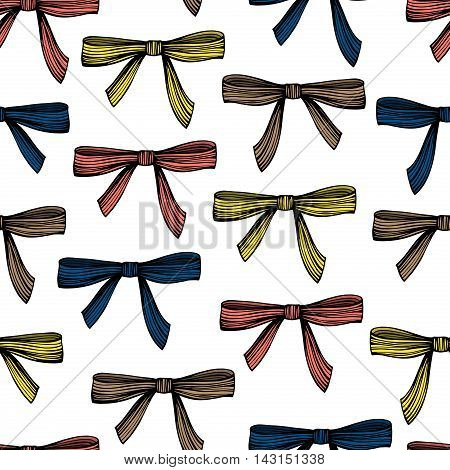 Seamless pattern with hand drawn bows. Vintage background.