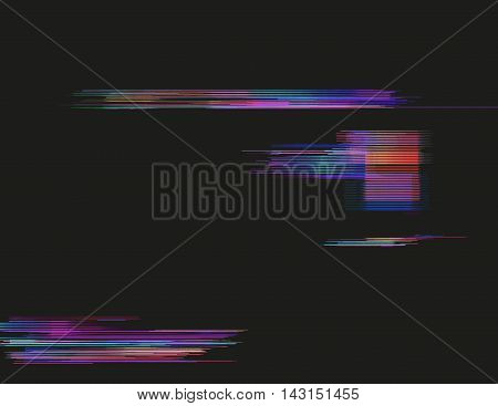 Glitched horizontal stripes. Colorful night lights. Digital signal error. Abstract background for a poster cover business card or postcard. Element of design.
