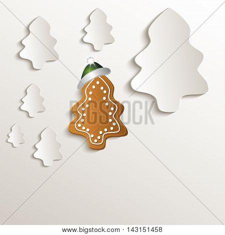 christmas trees gingerbread cap green natural paper 3D raster