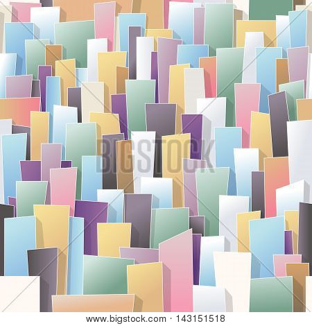 Continuing city seamless pattern: colourful buildings background