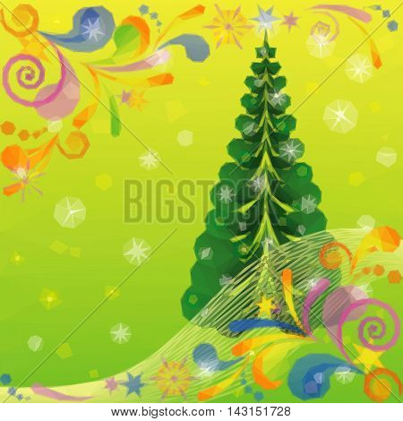 Christmas Low Poly Background for Holiday Design with Fir Tree and Abstract Patterns. Vector
