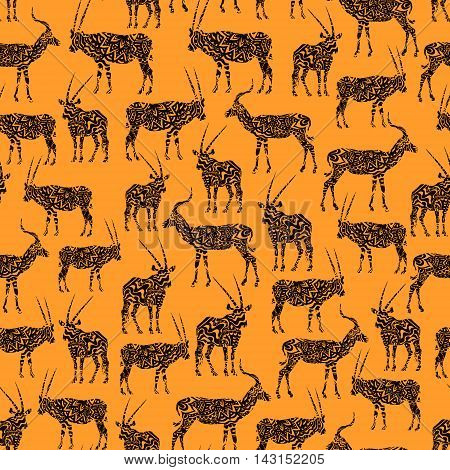 Orange And Brown Seamless Pattern With Antelope