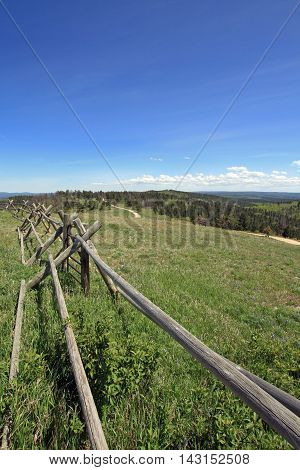 Split Rail Fence along the Cement Ridge dirt road in the Black Hills of South Dakota USA