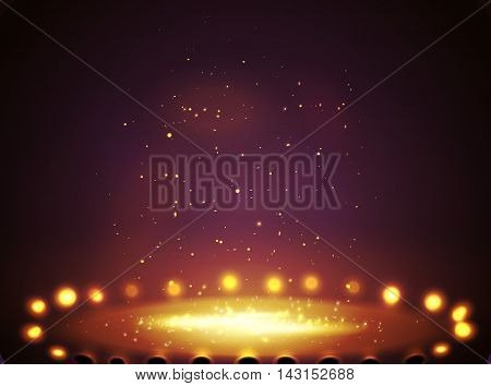 Stage with lights, shine and spotlights red . Vector illustration  eps 10