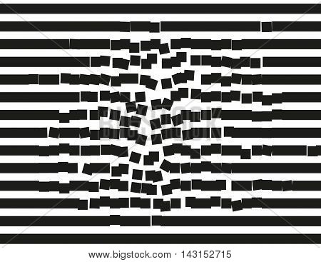 Destructing stripes. Falling down rectangular blocks. Background illustration pattern.