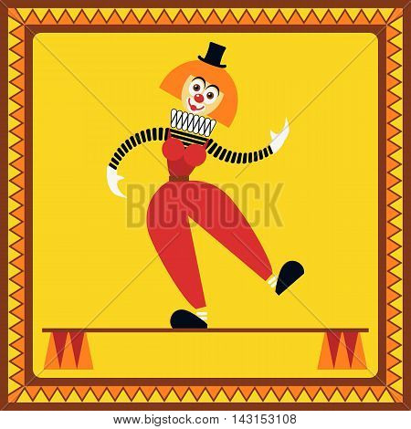 Funny female clown teetering on two pillars. The equilibrist balances. Flat style. Vector illustration