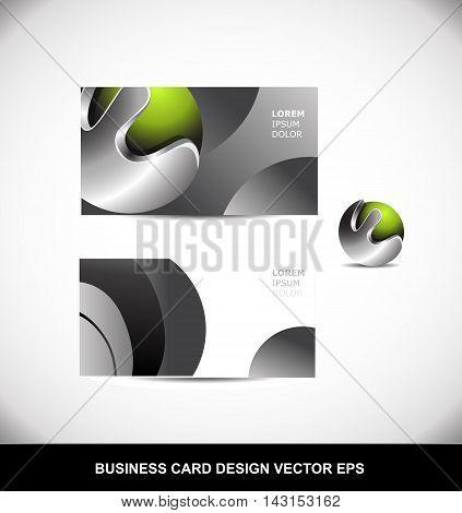 Green metal metallic silver grey business card creative vector template design illustration