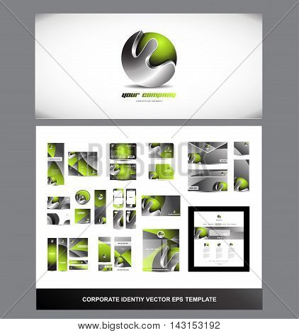 Green metal metallic silver grey corporate identity brandbook logo vector template design illustration for business