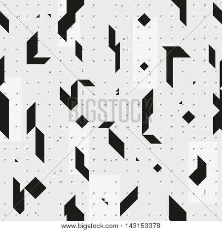 Sharp geometric triangular shapes. Monochrome seamless pattern. Endless repetitive texture for a background.