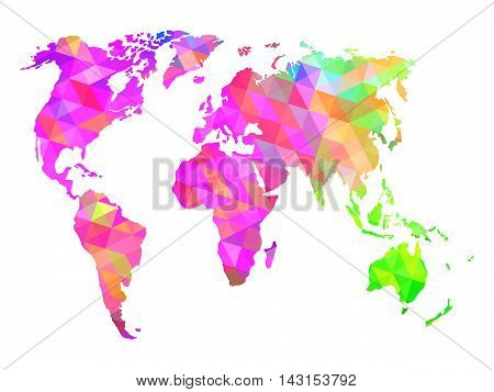 Colorful world map. Isolated on white. EPS 10 vector illustration.