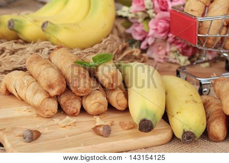 Deep fried banana traditional Indonesia Banana Molen