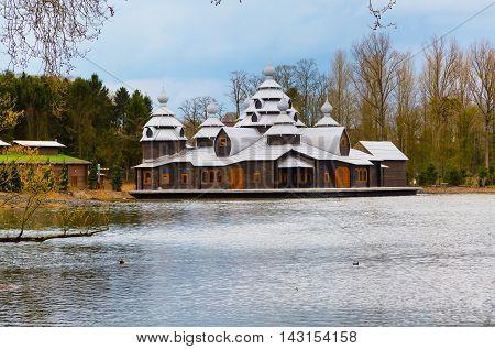 Wooden ancient style temple at Pairi Daiza, Belgium