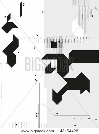 Abstract monochrome geometric composition. Contrast cybernetic backdrop with a sharp elements. Modern digital shapes. Background template for a poster cover annual report invitation or postcard.