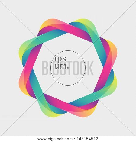 Colorful frame made by two twisted rectangles. Optical illusion with a 3d effect. Template for a logo symbol icon emblem. Useful design element.