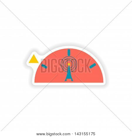 paper sticker on white background  Wi fi tower