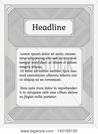 Wide linear monochrome frame with two sections. Old fashioned minimalistic book style. Element of design for a cover title page certificate or greeting card.