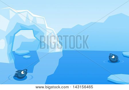 Arctic vector background with ice floes, icebergs, water and fishes