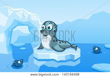 Illustration of a navy seal on an arctic vector background with ice floes, icebergs, water and fishes