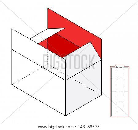 Simple Open Cardboard vector box template. Cut-out