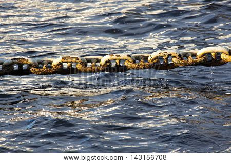 Marine Anchor chain over the sea wet with water drops