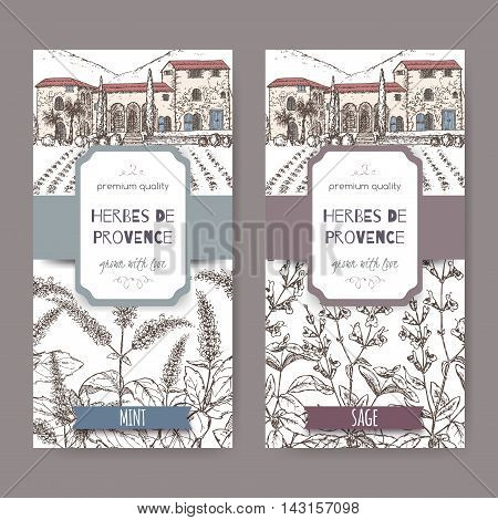 Two Herbes de Provence labels with cottage, mint and sage sketch on white background. Culinary herbs collection. Great for cooking, medical, gardening design.