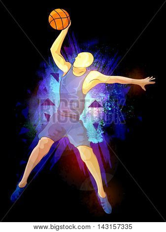 Basketball Player in action, Creative abstract background with explosion, Stylish Poster, Banner or Flyer design for Sports concept.