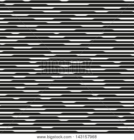 Monochrome abstract striped texture. Black and white horizontal lines. Endless repetitive element. Seamless pattern for a background.