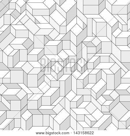 Seamless pattern with an abstract geometric shapes. Monochrome isometric structure. Endless texture for a background.