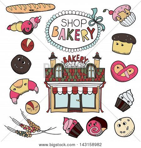 Set cartoon patch badges or fashion pin badges.Bakery, shop, cake, seed, cookies, bread, house, cream, hand drawn vector full color sketch