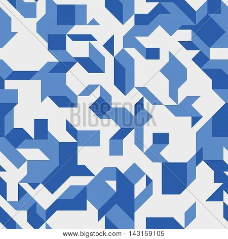 Seamless pattern with an abstract geometric shapes. Modern isometric structure. Endless texture for a background.
