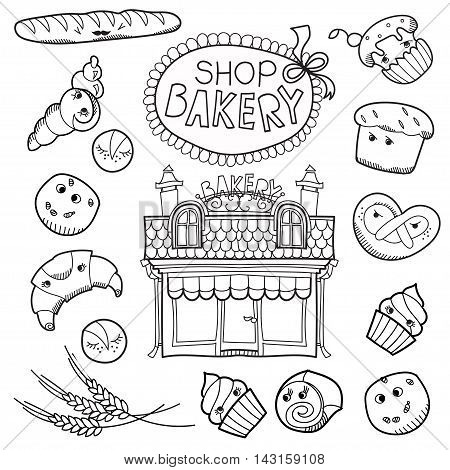 Set cartoon patch badges or fashion pin badges.Bakery, shop, cake, seed, cookies, bread, house, cream, hand drawn vector full line sketch