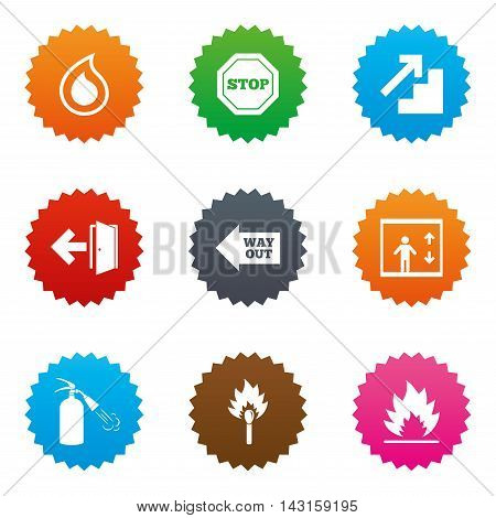 Fire safety, emergency icons. Fire extinguisher, exit and stop signs. Elevator, water drop and match symbols. Stars label button with flat icons. Vector