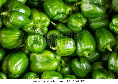 Full Frame Background Of Green Peppers