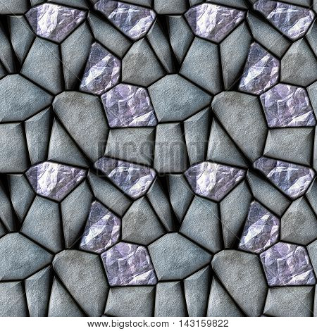 Seamless abstract 3d pattern of silver stones and diamonds. Blue, silver and gray background of polygonal stones