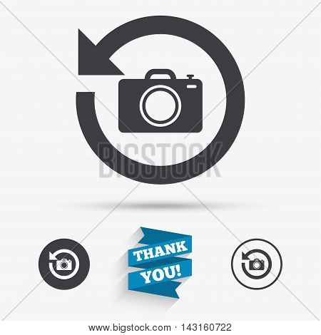 Front photo camera sign icon. Digital photo camera symbol. Change front to back. Flat icons. Buttons with icons. Thank you ribbon. Vector