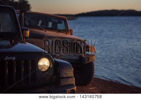 Leningrad region ,Gulf of Finland, Russia , December 23, 2015 , Jeep Wrangler on the Gulf of Finland in Vyborg, the Jeep Wrangler is a compact four wheel drive off road and sport utility vehicle