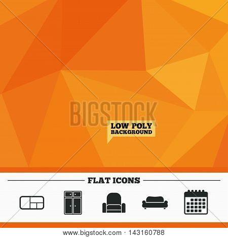 Triangular low poly orange background. Furniture icons. Sofa, cupboard, and book shelf signs. Modern armchair symbol. Calendar flat icon. Vector